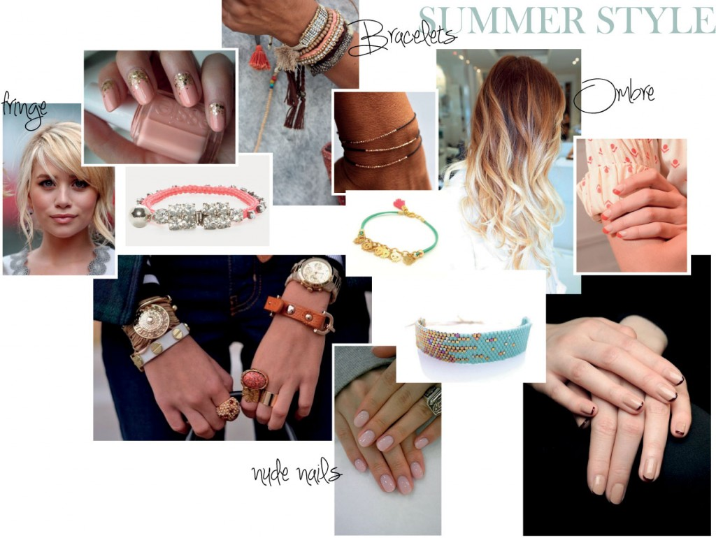 Summer style_nude nails_hair_ombre_bracelets