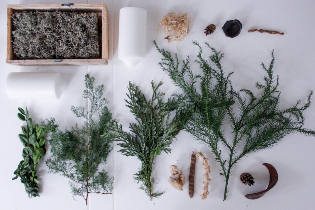 Adventskrans med naturens materialer 1