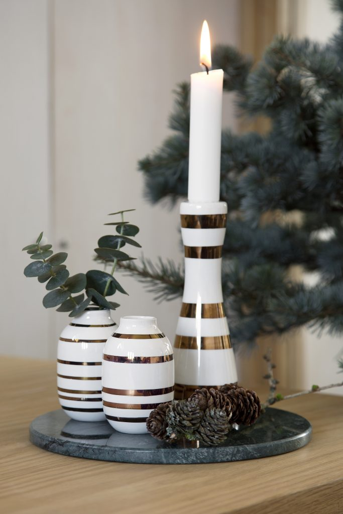 Omaggio Vases H80 and Candle Holder H160 Gold