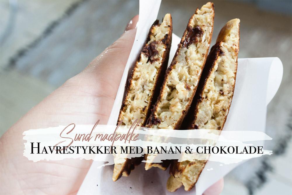 havrestykker med chokolade - sunde snacks til madpakken