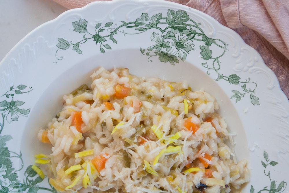 risotto opskrift med porrer og gulerod