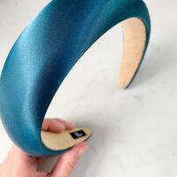 Satin hårbøjle blå